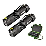 HyperLight X5 Tactical (2-Pack) - Mini Ultra Bright 8W Tactical Military Flashlights - Lightweight & Indestructable - 3 Modes w/Adjustable Zoom - 1 Mile Range - Self Defense Mode