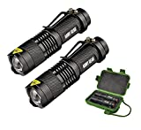 HyperLight X5 Tactical (2-Pack) - Mini Ultra Bright 8W Tactical Military Flashlights - Lightweight & Indestructable - 3 Modes w/Adjustable Zoom - 1 Mile Range - Self Defense Mode cover image