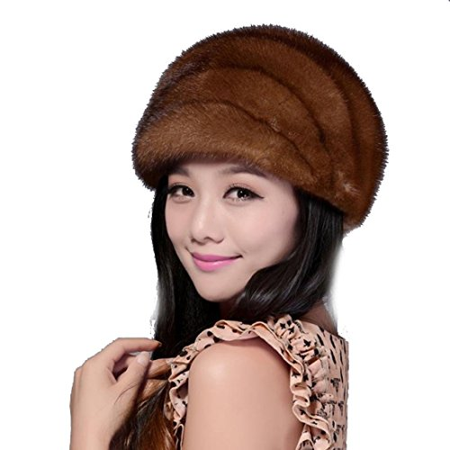 Women's Mink Fur Hat (One Size, Brown) by Starway0311