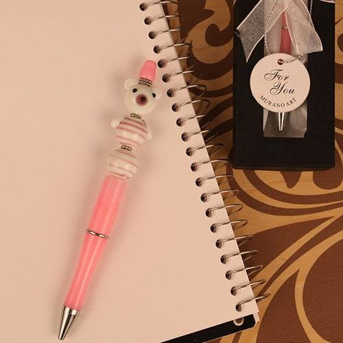 12 Pink Bear Glass Pen with Tag Murano Art in Decorative Box Party Favor Party Supplies