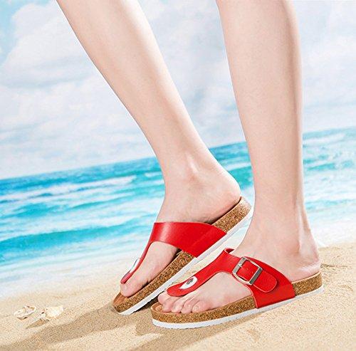 Cork Beach Unisex Con Rosso Donna Shoes On Singola Sandali Comfort Flops Slip Fibbia Da Flip qZ6I7