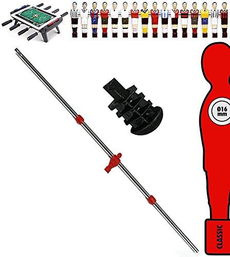 grandeemporio Calcio Balilla Asta Singola Passante Asta Diametro mm.16 Lunghezza cm.104,5. con ometto Rosso Uscente Universale Portiere