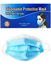 Disposable Face Masks 50 Pcs Blue Protective 3-Ply Anti Dust Breathable Elastic Ear Loop Comfortable Sanitary Breathable for Pollen Allergens Nose/Mouth Coverings Safety Shield for Adults