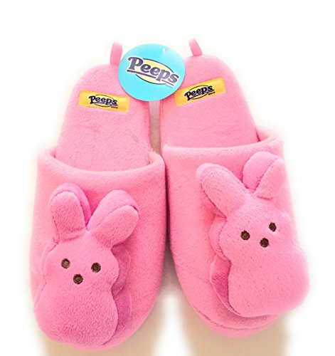 Easter Peeps Slippers Small 6-7 Womens Pink Bunny Springtime Holiday 3D Bunnies