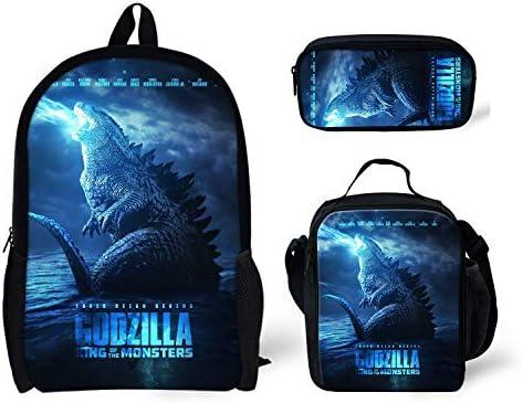 ZERODATE Godzilla Monsters Design Kids Backpack School Bookbag + Lunch Bag+Pencil Bag Gray for Children Girls Boys