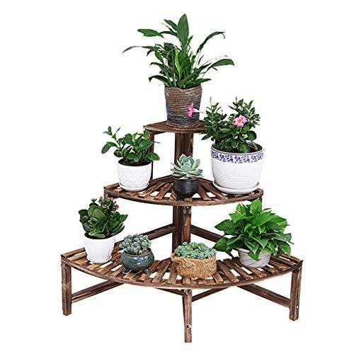 JFFFFWI Flower Rack Sector Flower Display Stand with 3 Tiers for Indoor Living Room Balcony Wooden Floor-Standing Plant Stand Corner Shelf Simple Multifunction