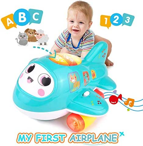 KidPal Baby Toys, My First Plane Baby Toy for Age 1 2+ Year Old Boy & Girl with Music and Light, Electronic Smart Wheel Moving Toys Encorage to Crawling, Musical Baby Toy Car for 1 2 3 + Year Old Jet