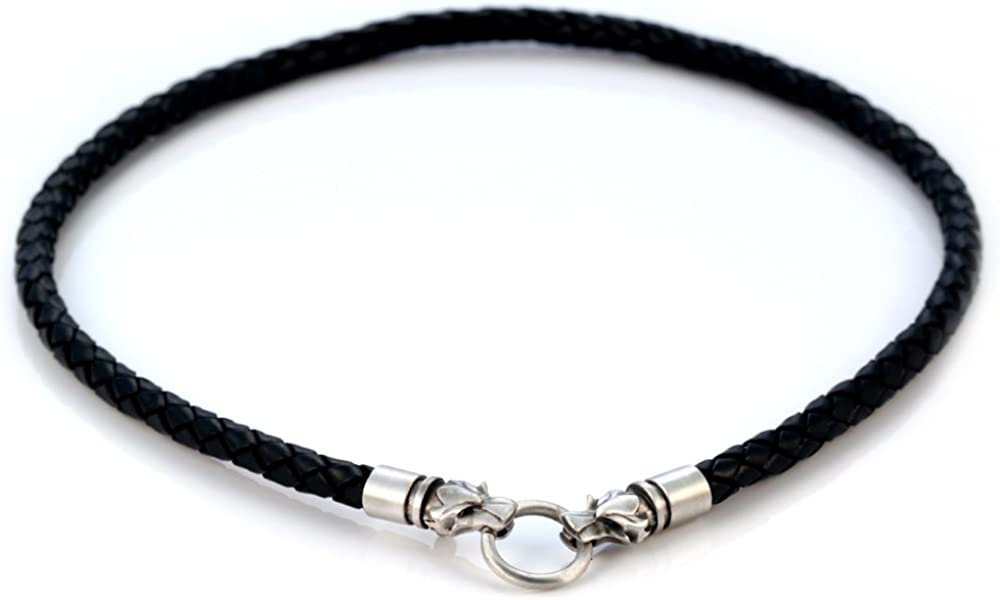 Bico 6mm (0.24 inch) Black Braided Leather Necklace with Hand-Made Clasps and Loop (CL15 Black)