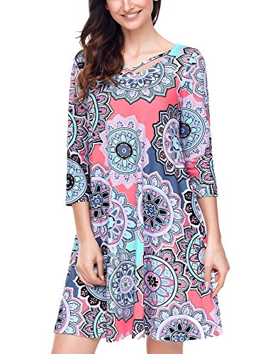Ethnic Cross (Grapent Women's Casual Floral Ethnic Print Criss Cross 3/4 Sleeves Shift Dress Size Large (US 12-14))