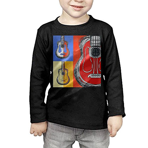 Ibanez Acoustic Blocks - Arromper Color Block Guitars Girls&Boys Long Sleeve T-Shirts 5-6 Toddler Black
