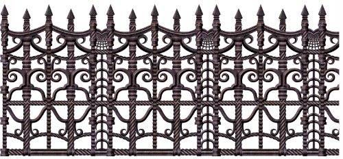 Creepy Fence Border Party Accessory (1 count) (Cemetery Fence Halloween Prop)