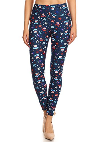 Women's Plus 4th of July Uncle Sam Flag Stars Printed Leggings - Red White Blue