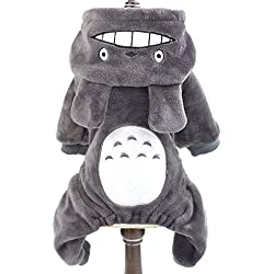 SMALLLEE_LUCKY_STORE Pet Small Dog/Cat Fleece Totoro Jumpsuit Pajamas Coat Halloween Costume, Medium, Grey