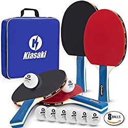 Ping Pong Paddle Set (4-Player Bundle) 4 Premium Table Tennis Racket, 8 Three Star Balls, Professional Tournament Bat | Advanced Speed, Control, Spin | Portable Cover Case Bag | Indoor & Outdoor Play