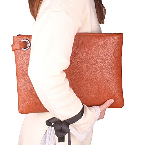 Aladin Oversized Clutch Bag Purse, Womens Large leather Evening Wristlet Handbag (Brown) - Clutch Brown Leather Handbags