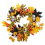 Halloween Props Leaf Wreath Autumn Maple Pumpkin Berry Garland Front Door Home Wall Decoration