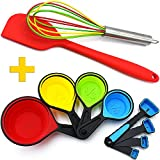 Silicone Whisk - Red Spatula - Collapsible Measuring Cups and Spoons - 10 Piece Set - Cooking and Baking Food Prep Kitchen Tools