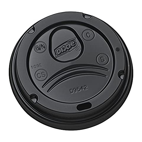 Dixie D9542B Dome Lid for 10-16 oz PerfecTouch Cups and 12-20 oz Paper Hot Cups, Black (Case of 10 Packs, 100 Lids per - 10 Ounce Styrofoam Cups