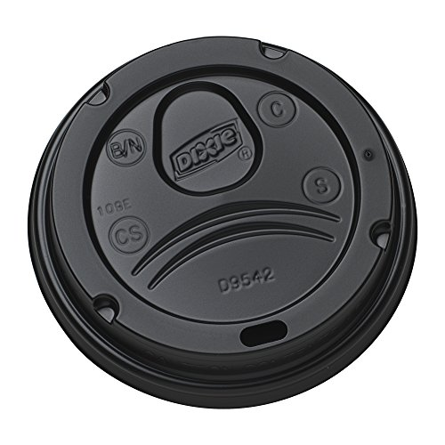 Dixie D9542B Dome Lid for 10-16 oz PerfecTouch Cups and 12-20 oz Paper Hot Cups, Black (Case of 10 Packs, 100 Lids per Pack)