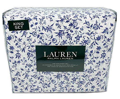 (Lauren King Sheet Set 100% Cotton 4 Piece Set in French Navy Floral Toile on White)