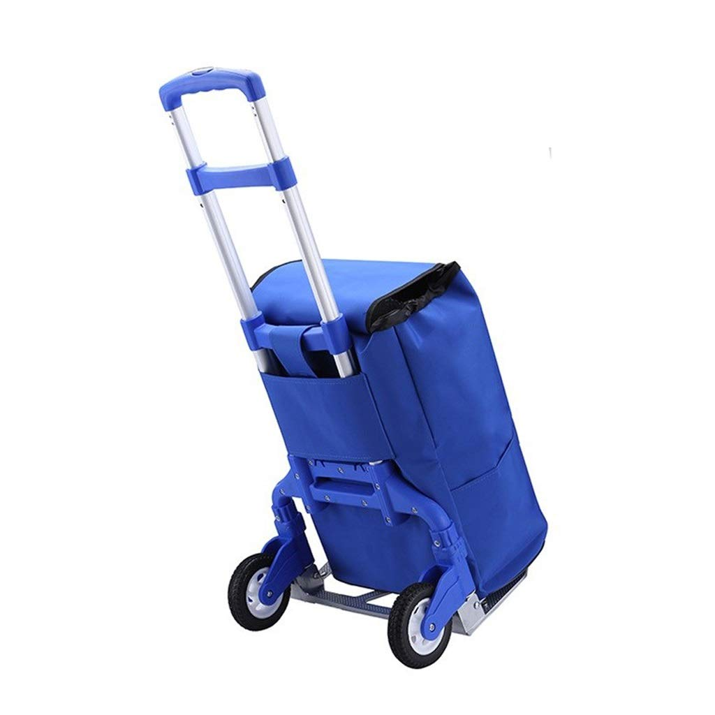 Hzpxsb Lightweight Shopping Trolley - Foldable Bag - Multi-Functional - Adjustable Luggage Grocery Cart - Black Cloth Bag