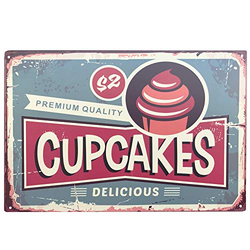 (UNIQUELOVER Delicious Premium Cupcakes Tin Sign Retro Vintage Metal Plaque Poster for Cafe Bar Pub Beer Club Home Wall Decor Art 12