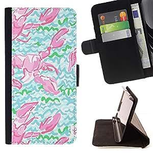 Momo Phone Case / Flip Funda de Cuero Case Cover - Cangrejo de modelo del art Green Lobster - Samsung Galaxy A5 ( A5000 ) 2014 Version