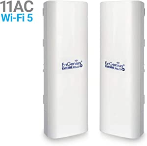 EnGenius EnJet Wi-Fi 5 Wave 2 Outdoor AC867 5GHz Plug-n-Play Wireless CPE/Client Bridge, Long-Range, PTP/PTMP, IP55, 27dBm, with 16 dBi High-Gain Antenna [2-Pack] (ENH500v3 KIT)