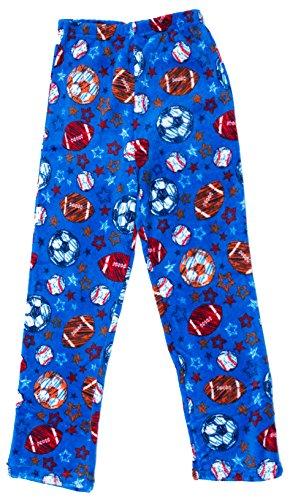 Boys Fleece Pajama Pants (Prince of Sleep Plush Pajama Pants - Fleece PJs for Boys, Blue - Sports, Boys' 8)