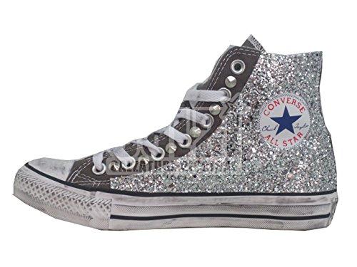Converse all star hi glitter argento grigio charcoal vintage ( prodotto artigianale )