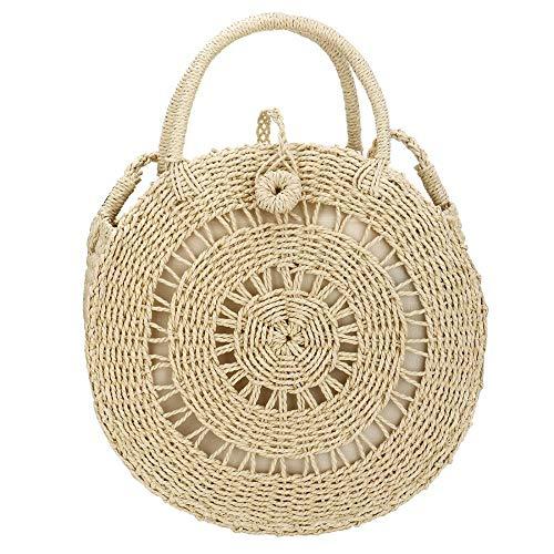 (EROUGE Natural Chic Straw Bag Hand Woven Round Handle Handbags Retro Summer Beach Bag Beach Bag (Circle Beige))
