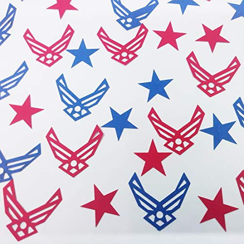 Morndew 100 PCS United States Air Force Emblem Confetti for Military Themed Party USAF Promotion Retirement Party Wedding Party Birthday Party Decorations (Airforce Party Decorations)
