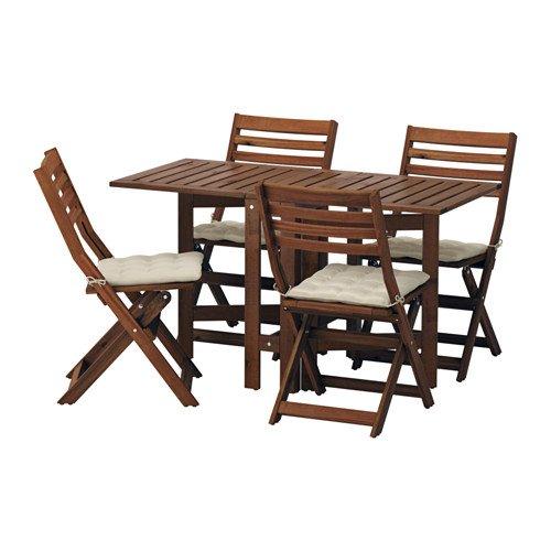 APPLARO エップラロー テーブル+折りたたみチェア4 屋外用, ブラウンステイン, ホッロー ベージュ 391.554.92 B07DYLDQCY