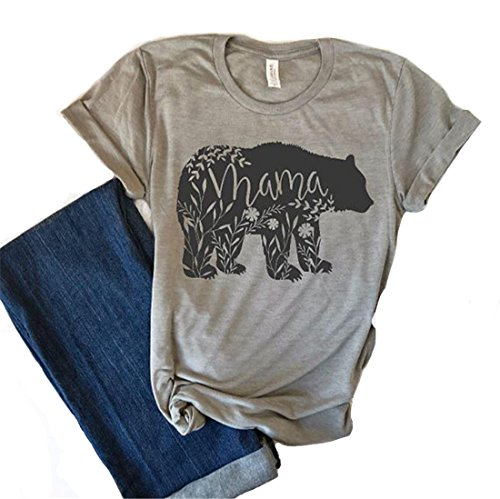 (Women's Floral Mama Bear Print Crew Neck Short Sleeve T Shirts for Mom Mother's Gift Grey)