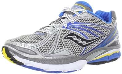 Saucony Men's Hurricane 15 Running Shoe,Silver/Blue/Yellow,8.5 M US