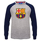 FC Barcelona Official Gift Kids Crest Long Sleeve T-Shirt Grey 6-7 Years