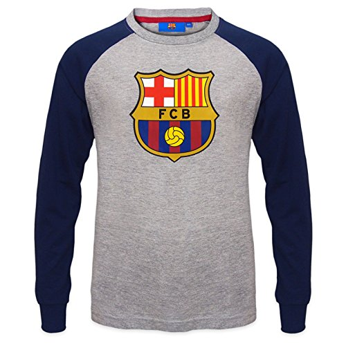 FC Barcelona Official Gift Kids Crest Long Sleeve T-Shirt Grey 10-11 ()