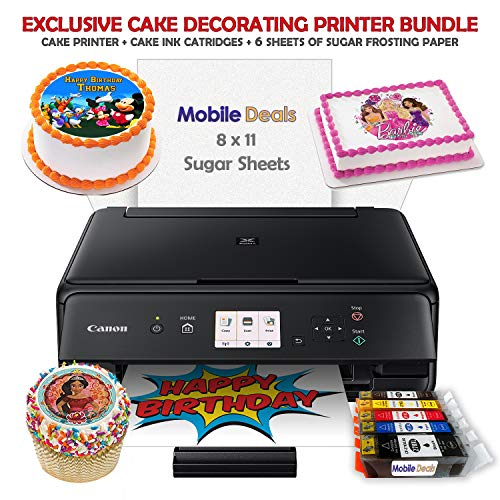 Mobile Deals Tasty Treats and Birthday Cake Topper Image Printer Bundle - Includes Canon Wireless Printer, Cake Ink Cartridges and Sugar Sheets