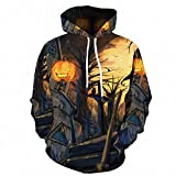 Holzkary Men's Horror Halloween Costume Funny 3D Printed Party Hooded Pullover Tops Long Sleeve Sweatshirts Hoodies with Pockets(S.Black-5)