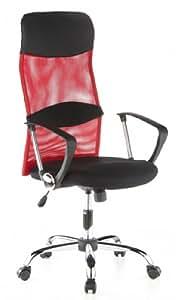 HJH Office 621110 - Silla de oficina con respaldo de red, color negro y rojo