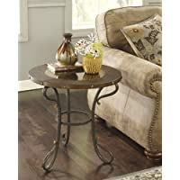 Signature Design by Ashley Everleaux Rustic Style Burnished Round End Table with Metal Base, Brown Finish