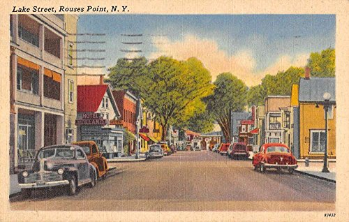 Rouses Point New York Lake Street Scene Store Fronts Antique Postcard - Store Rouse