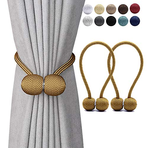 DEZENE Magnetic Curtain Tiebacks,The Most Convenient Drape Tie Backs,2 Pack Decorative Rope Holdback Holder for Big,Wide or Thick Window Drapries,16 Inch Long,Bronze/Golden ()