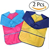 SPLSTT Kids Art Smocks, Children Waterproof Artist Painting Aprons with Long Sleeve for Age 2-10 Years (Yellow &Red)