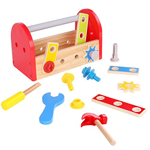 Timy Wooden Construction Toy Toddler Tool Box with Accessori
