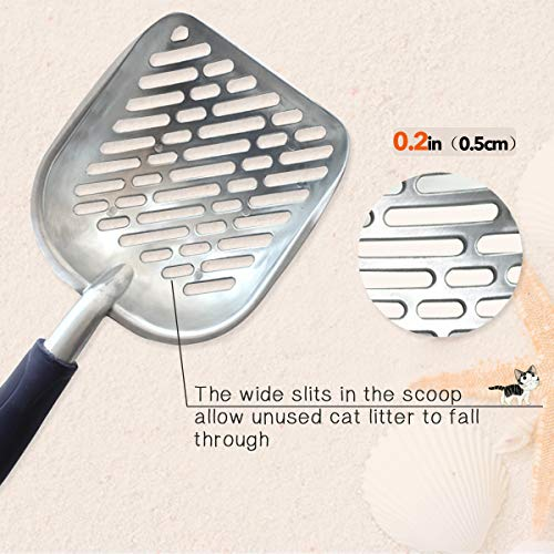 Vivaglory Cat Litter Scoop, Durable Metal Litter Scoop for Kitty, Sifter with Deep Shovel and Ergonomic Handle, Made of Heavy Duty Solid Aluminum, Jumbo Size, Navy Blue