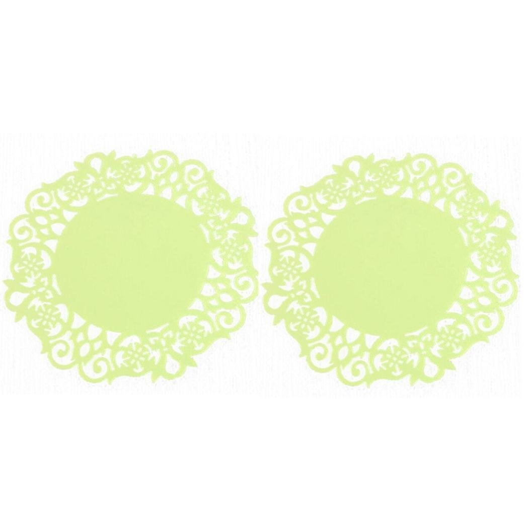 Ecurson Colorful 2PC Lace Flower Doilies Silicone Coaster Tea Cup Mats Pad Insulation Placemat (Yellow) by Ecurson (Image #1)