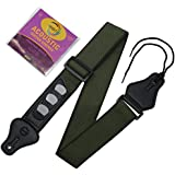 Comfortable and Secure Cotton Guitar Strap with Convenient Pick Holders and Bonus Guitar Strings Included by Wibitz (Green)
