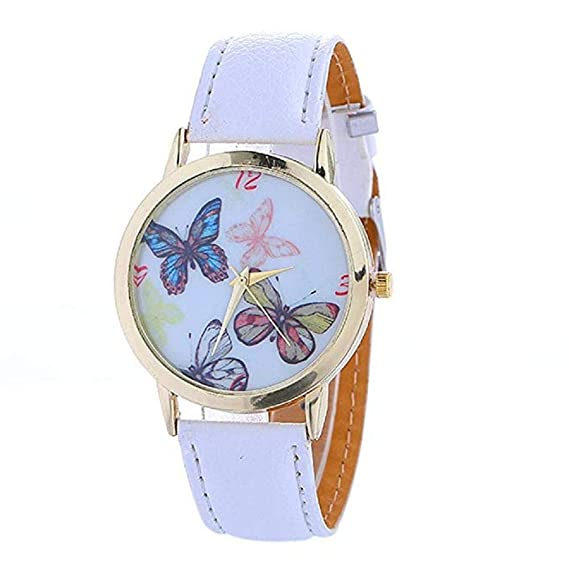 Relojes de Mariposa para Mujer, Relojes de Moda únicos para Mujer Relojes de Mujer Relojes Casual para Mujer Reloj de Cuero cómodo de PU (Rosa): Amazon.es: ...