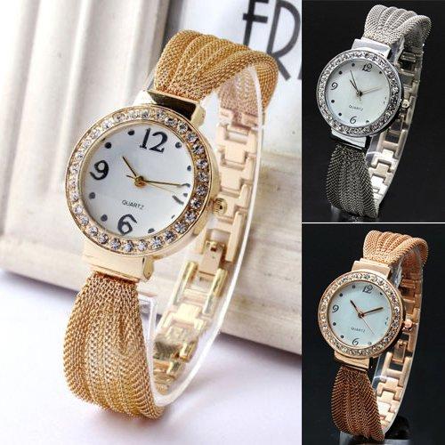Mujer con incrustaciones de diamantes de imitación de malla pulsera de  banda analógico de cuarzo pulsera reloj de pulsera 4sq9  Amazon.es  Relojes 741538a231ef